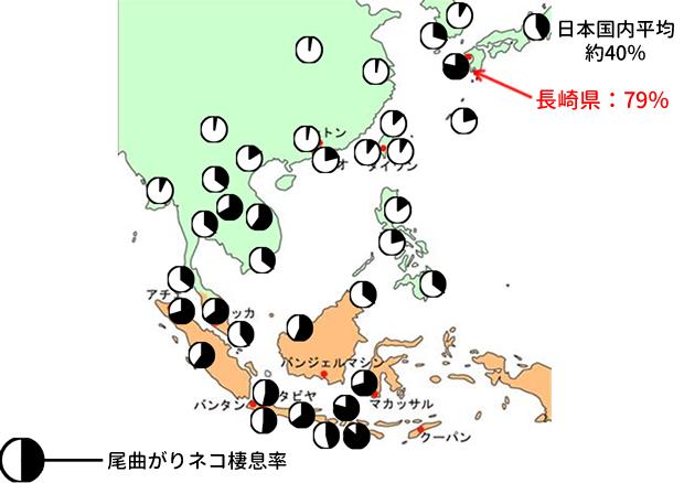 尾曲がりネコアジアでの分布図